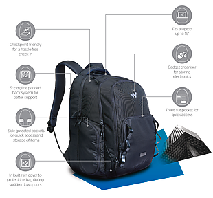 Wildcraft Imprint Laptop Backpack With Gadget Organizer - Black
